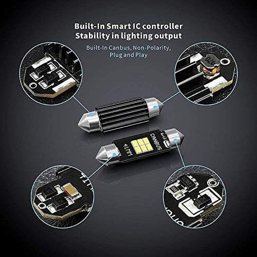 CUHAWUDBA Extremadamente Brillante 400 Lumenes 3020 Chipset Led para Luces Interiores del Automovil Matricula Mapa De Cupula Puerta Cortesia 41Mm Feston De3175 6428 Xenon Blanco
