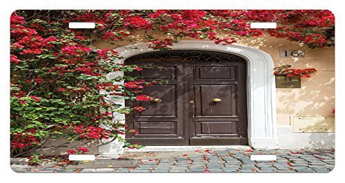 zaeshe3536658 Moroccan License Plate, Old Wooden Door Surrounded by Flowers European MedievaEntrance Italy ArtfuPrint, High Gloss Aluminum Novelty Plate, 6 X 12 Inches, Multi by zaeshe3536658