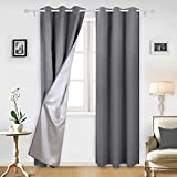 Deconovo Insulated Blackout Curtains Pair Grommet Curtains with Silver Coating for Sliding Glass Door 42W x 95L Inch Light Grey Set of 2