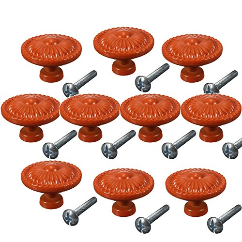 - CSKB Orange 10PCS Retro Simple Style Round Door Knob Zinc Alloy Shower Bath Door Handle Pull Knobs for Drawer,Cabinet,Chest, Bin, Dresser, Bathroom ,Cupboard, Etc with Screws