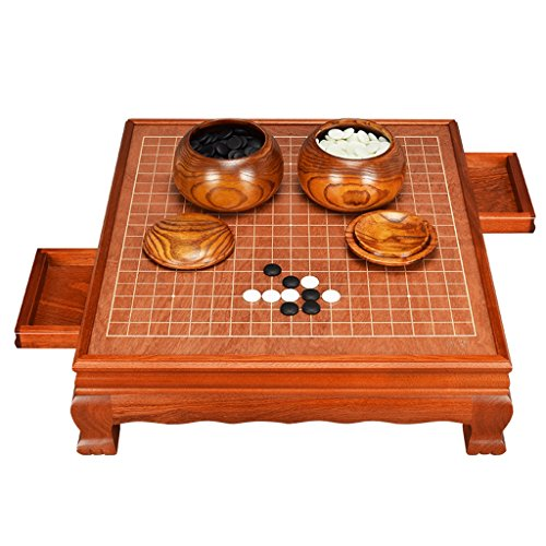 LF-checkerboard Adult Go Set, High-Grade Solid Wood Chess Board Yunzi Go Pieces Wooden Chess Table Frame Built-in Drawer