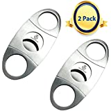 Cigar Cutter. 2 Pack. Premium Stainless Steel. Guillotine Double Blade