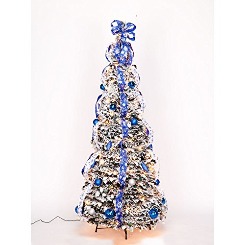4 ft Snow Frosted Spruce Prelit Pull Up Tree (Pre Tree Pull Up Lit)