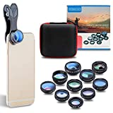 Phone Lens , JoyGeek Universal 10-in-1 Phone Camera Lens Kit Wide & Macro Detachable Lens, Flow/4-Line Star/Radial Filter 2x Telephoto/198°Fisheye/Kaleidoscope 3/6 & CPL Clip-on Lens for Most of Smart Phones and Tablets