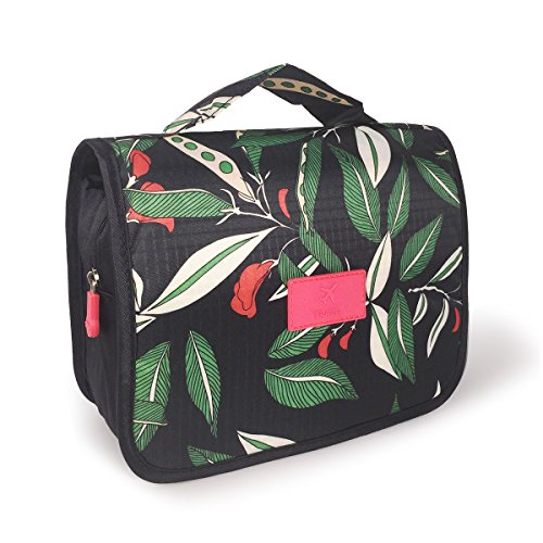 Ybester Hanging Travel Toiletry Bag Portable Organizer Cosmetic Makeup Bags Carry On Case (Green Leaves)