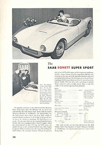 Amazon 1956 Saab Sonett Super Sport Magazine Article
