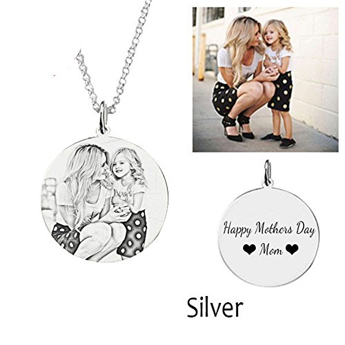 Solid Snake Costume For Sale - Personalized Photo Pendant Solid Mom Son Gift Photo Necklace Dog Tag Pendant Christmas Halloween gifts( silver 16