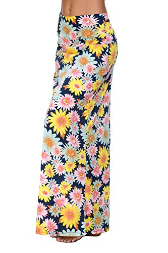 EXCHIC Women's Bohemian Style Print Long Maxi Skirt (XL, 3)
