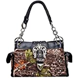 Western Cowgirl Camouflage Rhinestone Buckle Satchel Purse Black Trim Camo, Bags Central