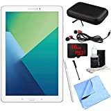 Samsung Galaxy Tab A 10.1 Tablet PC White w/ S Pen 16GB Bundle includes Tablet, 16GB MicroSD Card, Microfiber Cloth, Cleaning Kit, Stylus Pen with Clip, Case with Zipper for Tablets and Metal Ear Buds