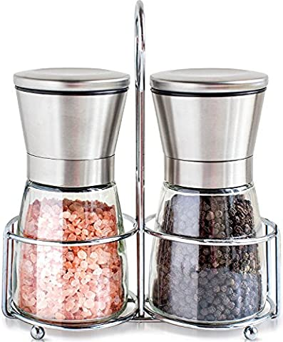 Premium Stainless Steel Salt and Pepper Grinder Set of 2- Brushed Stainless Steel Pepper Mill and Salt - Stainless Steel Electric Pepper Mill