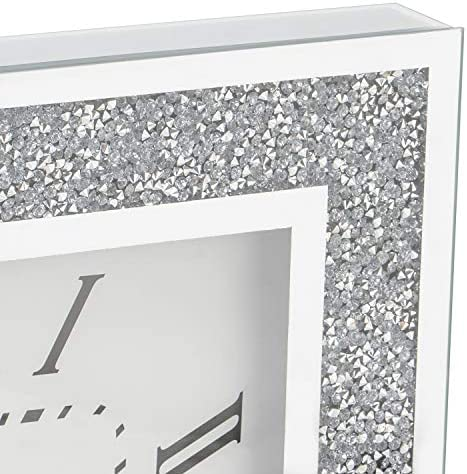 Modern Sparkly Diamond Crystal Mirror Glass Square Wall Clock 20 cm Silver