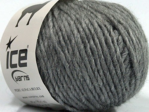Lot of 8 Skeins Ice Yarns Peru Alpaca Bulky (25% Alpaca 50% Merino Wool) Yarn Grey