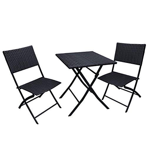 Adeco 3Piece Black Folding Dining Set