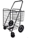 Wellmax WM990017S Folding Shopping Cart with Double Basket and Swivel Wheels Black