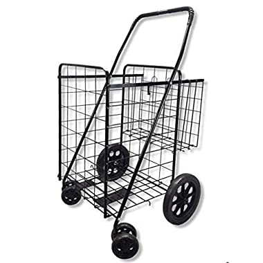 Wellmax WM990017S Folding Shopping Cart with Double Basket and Swivel Wheels, Black