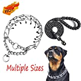 Dog Prong Training Collar - Stainless Steel Adjustable Pinch Pet Choke Collar with Comfort Rubber Tips,Safe and Effective,Adjustable Size and Quick Release Buckle(+Heavy Duty Dog Leash)