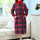 Bathrobe Ladies Pajamas 100% Cotton Super Soft Thick Bath Robe Belt And Two Front Pockets Couples Gown For Gym Shower Spa Hotel Nightgown Holiday Present ( Size : S )