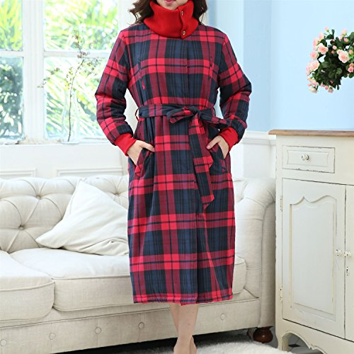 Bathrobe Ladies Pajamas 100% Cotton Super Soft Thick Bath Robe Belt And Two Front Pockets Couples Gown For Gym Shower Spa Hotel Nightgown Holiday Present ( Size : S ) by yan
