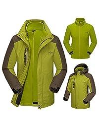 Dnstar Men's 3in1 Winter Jackets with Full Zipper Fleece Jacket