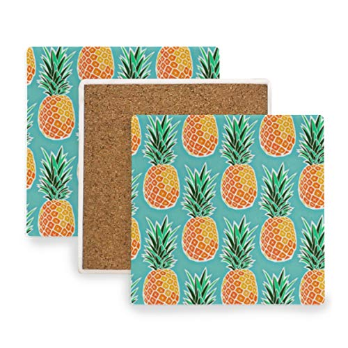 Tropical Pineapple Turquoise Fruit Ceramic Coasters for Drinks,Square 4 Piece Coaster Set ()