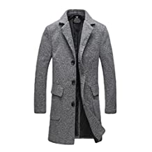 Men's Plus Size Single Breasted Trench Coat Winter Long Jacket