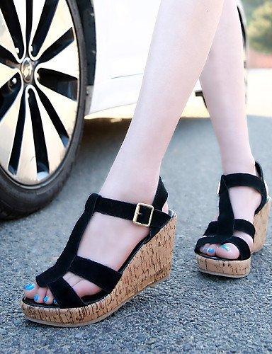 ShangYi Womens Shoes Wedge Heel Wedges/Heels/Peep Toe/Platform/Comfort/Open Toe Sandals Casual Black/Blue/Beige almond