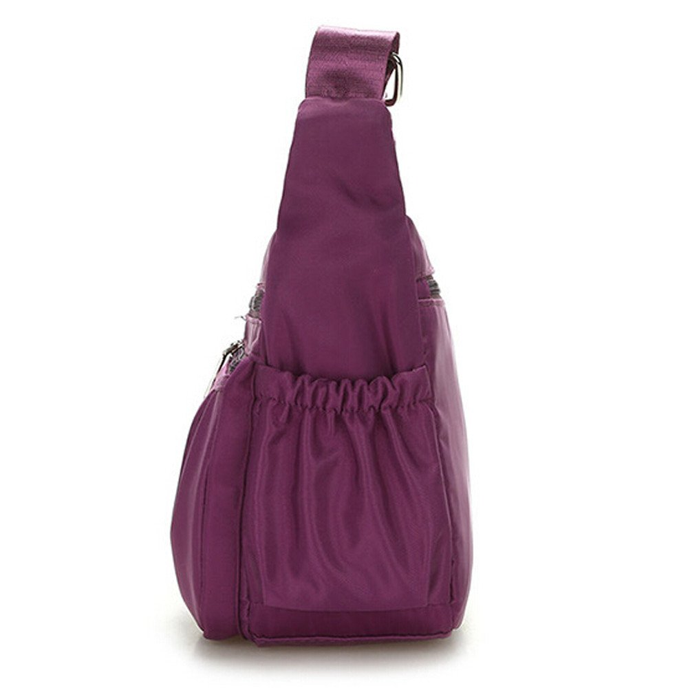 Clearance Sale Women Crossbody Bag Nylon, Fashion Solid [ Zipper Waterproof Shoulder Bag ] (Purple) by Vanvler Backpack (Image #3)
