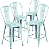 "Cheap Flash Furniture 4 Pk. 24"" High Distressed Green-Blue Metal Indoor-Outdoor Counter Height Stool with Back"