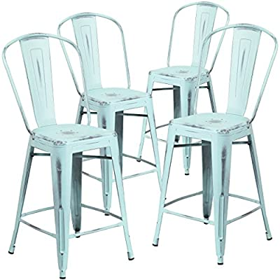 Flash Furniture 4 Pk. 24'' High Distressed Green-Blue Metal Indoor-Outdoor Counter Height Stool with Back - Set of 4 Bistro Style Counter Stools Curved Back with Vertical Slat Seat Drain Hole assists in drying - patio-furniture, patio-chairs, patio - 51R7%2B61B3SL. SS400  -