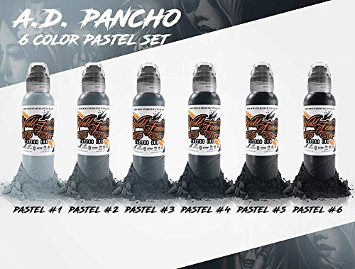 A.D. Pancho Pastel Grey 6 Bottle Set - World Famous Tattoo Ink - (Ink Pastel)