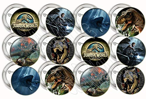 Collectible Metal Buttons - Jurassic World Park Buttons Party Favors Supplies Decorations Collectible Metal Pinback Buttons Pins, Large 2.25