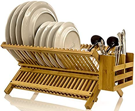 2 Tier Bamboo Dish Drying Rack Collapsible Drainer Holder Organizer For  #