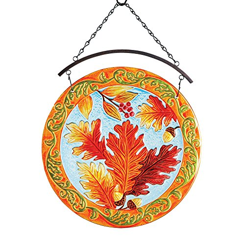 Collections Etc Fall Leaves Suncatcher with Scroll Pattern, Haning Outdoor Décor