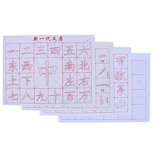 REAMTOP 4pcs Gridded Magic Cloth Water-Writing for Practicing Chinese Calligraphy or Kanji