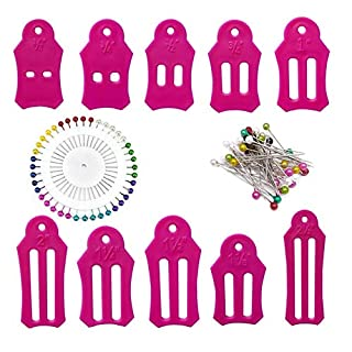 HONEYSEW 10pcs Multi-Sizes Folding Fabric and Biasing Strips Jelly Roll Sasher Tool Set with Multi-Color Quilting Pins 2 Colors can be Choosen (Pink)
