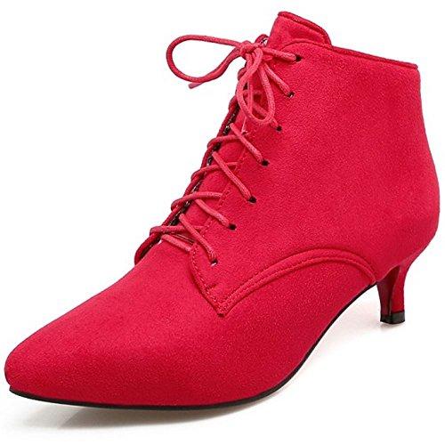 Rojo Mini Tacon Cordones Zanpa Mujer Overtamano Botas Bajo 7Epv0w