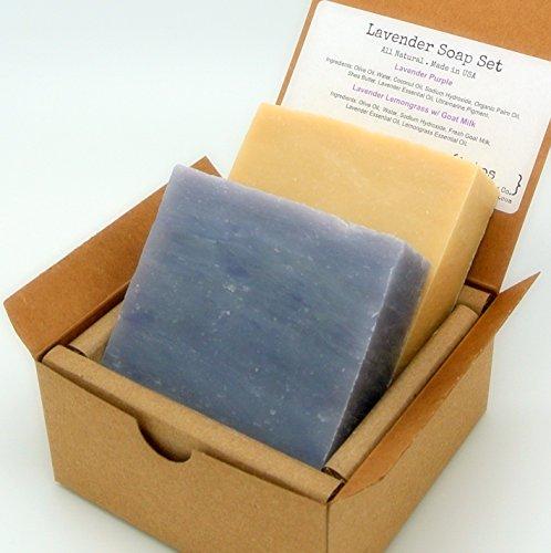 Lavender Soap Gift Set (2 Full Size Bars) – Lavender, Lavender Lemongrass Milk Castile – Handmade in USA – All Natural / Organic Ingredients