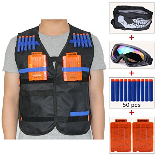 Tactical Mask Firepower Airsoft (COSORO Kids Tactical Vest Jacket Sets (comes with Face Mask + Windproof Protective Goggles + 50pcs Blue Foam Darts + 2pcs 5-dart Quick Reload Clip) for Nerf N-strike Elite Toy Gun)
