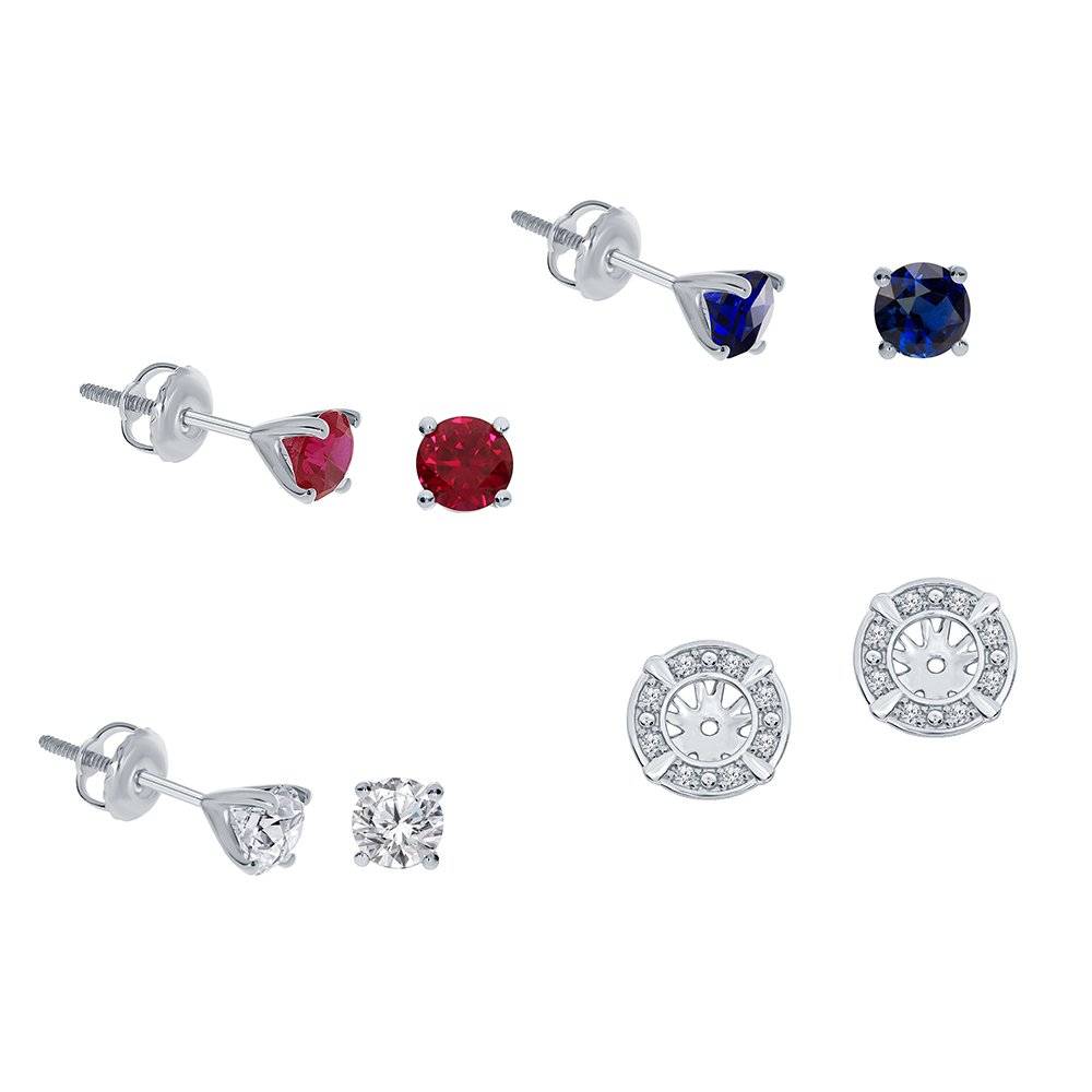 1/7ct White Diamond Sterling Silver Jacket Earring Blue Sapphire Ruby White Sapphire Gemstone Stud Earring Set by La Joya