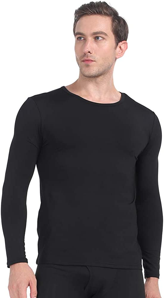 MANCYFIT Mens Thermal Shirts Fleece Lined Top Long Sleeve Compression Base Layer
