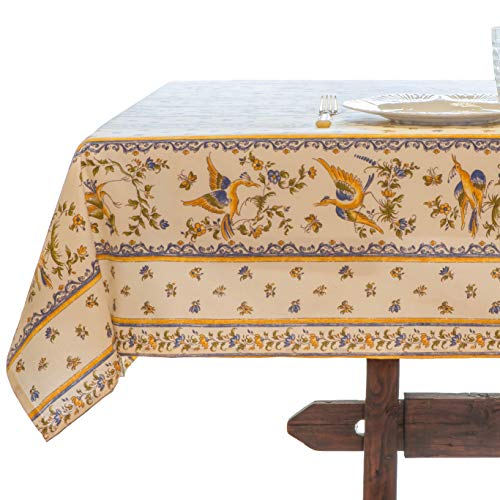 Amelie Michel Wipe-Clean French Tablecloth in Moustiers White | Authentic French Acrylic-Coated 100% Cotton Fabric | Easy Care, Spill Proof [60