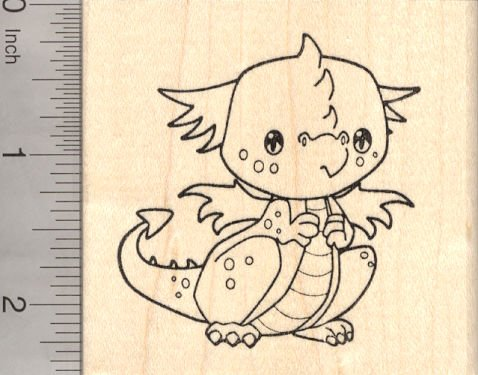 Baby Dragon Rubber Stamp