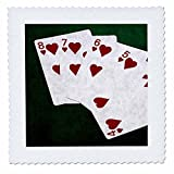 3dRose Alexis Photo-Art - Poker Hands - Poker Hands Straight Flush Hearts - 20x20 inch quilt square (qs_270303_8)