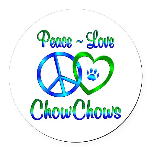 - CafePress - Peace Love Chow Chows Round Car Magnet - Round Car Magnet, Magnetic Bumper Sticker
