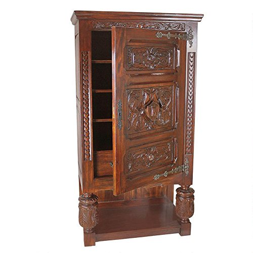 French Provincial Armoire - ChachaIn Solid Distressed Mahogany French Revival Gothic Antique Replica Locking Armoire