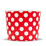 Red Paper Ice Cream Cups - 12 oz Polka Dotty Dessert Bowls - Perfect For Your Yummy Foods! Many Colors & Sizes - Frozen Dessert Supplies - Fast Shipping! 25 Count