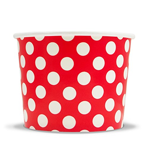 Frozen Dessert Supplies 12 oz Red Polka Dotty Paper Ice Cream Cups - Comes In Many Colors & Sizes! Fast Shipping! 50 Count