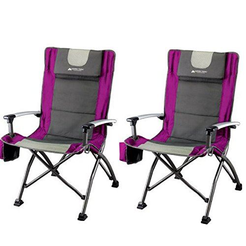 Ozark Trail High Back Chair with Head Rest, Fuchsia (Pack of 2)