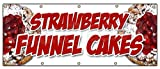 """48""""x120"""" STRAWBERRY FUNNEL CAKES BANNER SIGN bakery cake cookies pastry bread"""